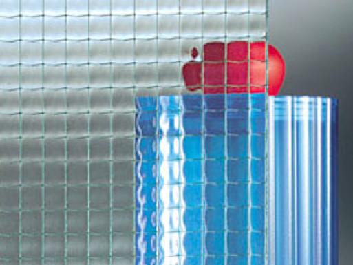 Brute Draadglas  ( Duits draadglas ) = licht geribbeld en half doorzichtig
